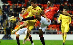 Sergi Canós en un partido con el equipo sub21 del Liverpool