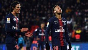 Cavani y Neymar en el partido ante el Guingamp