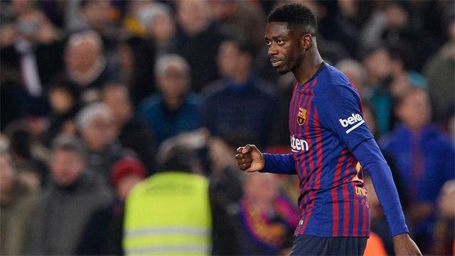 Dembélé se vistió de Messi en la jugada del 1-0