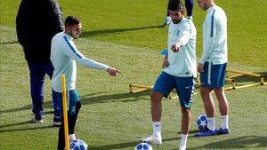 Diego Costa y Koke en un entrenamiento del Atlético