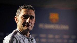 Ernesto Valverde, durante la entrevista concedida a Barça TV