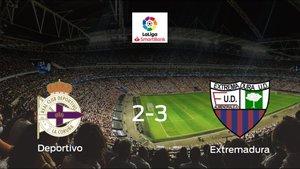 El Extremadura UD se lleva la victoria después de vencer 2-3 al Deportivo