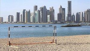 Imagen de archivo de una portería frente a Doha