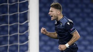 Immobile celebra uno de sus goles ante el Zenit