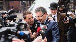 Josep Maria Bartomeu, a su llegada al restaurante