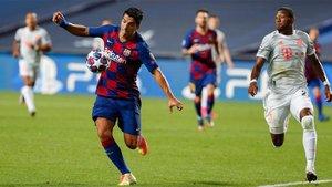 Luis Suárez marcó su último gol ante el Bayern en Lisboa