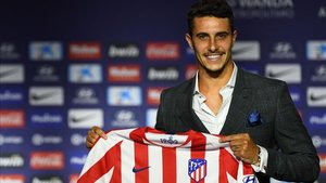 Mario Hermoso en su presentación como nuevo jugador del Atlético de Madrid