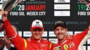 Mick Schumacher y Sebastian Vettel