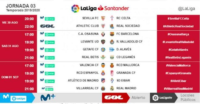 Dates and times have been revealed for the first three LaLiga fixtures