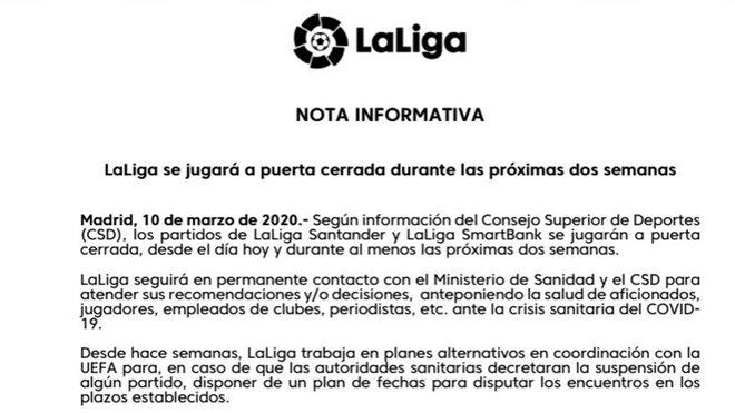El comunicado de la LFP sobre las jornadas 28ª y 29ª de la Liga 2019/20