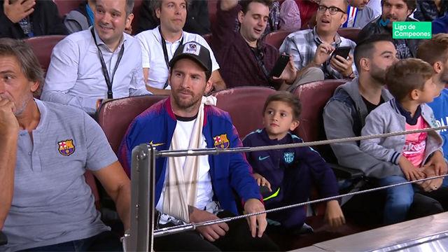 Así vivió Messi el partido desde la grada