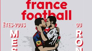 El beso de Messi y Cristiano en la portada de France Football