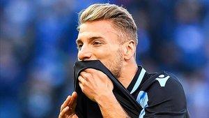 Immobile durante un partido con la Lazio
