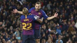 Jordi Alba celebra el gol de la victoria que anotó ante la Real Sociedad