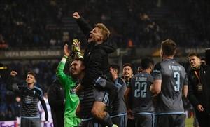 Los jugadores del Celta celebran la clasificación para las semifinales de la Europa League 2016-17