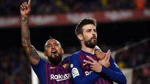 Piqué marcó el primer gol del Barça