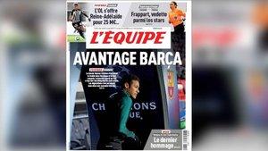La portada de LEquipe con Neymar y el Barça de protagonistas