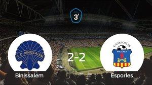 Reparto de puntos entre el Binissalem y el Esporles, el marcador final fue de 2-2