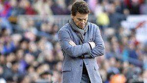 Rubi no acabó contento con el empate del Espanyol ante el Levante.