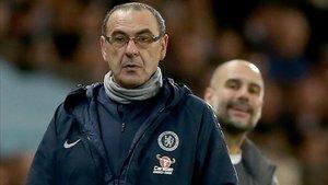 Sarri y Guardiola durante el City-Chelsea