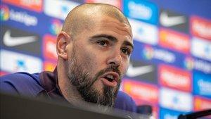 Víctor Valdés habló en rueda de prensa en la Ciutat Esportiva Joan Gamper