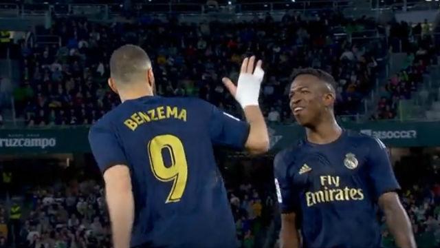 Benzema y Vinicius fallaron hasta en la celebración del gol