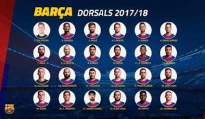 Estos son los dorsales del FC Barcelona 2017 / 2018