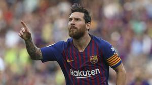 Leo Messi celebra un gol durante el Barça-Huesca de la Liga Santander 2018/19