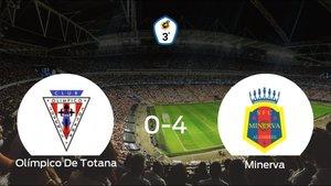 El Minerva logra una goleada en el estadio del Olímpico De Totana (0-4)