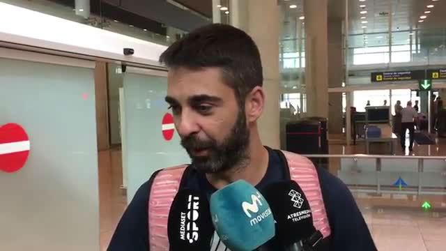 Navarro, a su llegada a Barcelona tras disputar el Eurobasket