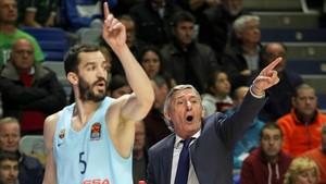 Svetislav Pesic y Pau Ribas, este miércoles en Málaga
