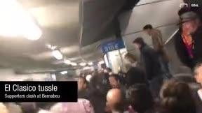 Tensión entre los aficionados culés y madridistas en los pasillos del Bernbéu