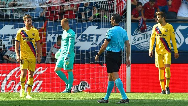 El 1x1 del Barça al descanso en El Sadar