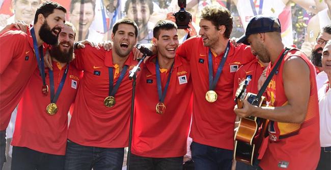 Celebración en Madrid del oro del Eurobasket 2015
