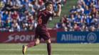 Denis Suárez celebra su gol que significó el empate provisional entre Getafe y Barça