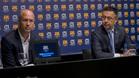 Jordi Cruyff y Josep Maria Bartomeu en marzo de 2016 tras el fallecimiento de Johan Cruyff