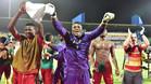 El portero camerunés Ondoa, celebrando su pase a la final de la Copa de África