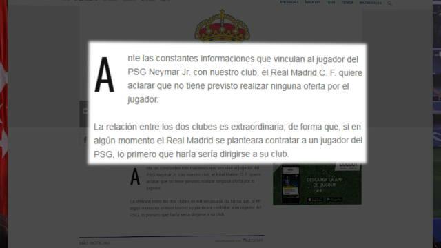 El Real Madrid vuelve a negar negociaciones con Neymar