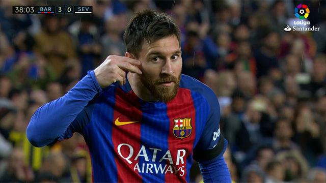 Video resumen: La celebración solidaria de Messi en el FC Barcelona - Sevilla (3-0). J30, Liga Santander 16-17