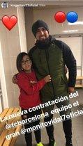 Arturo Vidal y su hijo, antes del entrenamiento