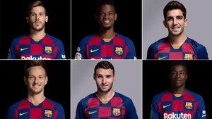Carles Pérez, Nelson Semedo, Monchu, Rakitic, Abel Ruiz y Moussa Wagué