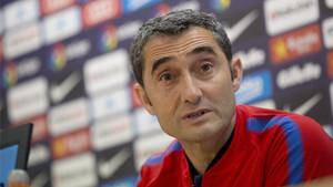 Ernesto Valverde, entrenador del Barça, en rueda de prensa