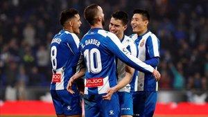 El Espanyol celebró la victoria en la jornada pasada ante el Rayo