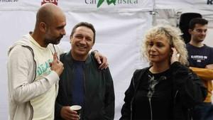 Guardiola y Eusebio, junto a Mònica Terribas, en el Open Day de la Fundación Johan Cruyff