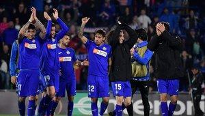 Los jugadores del Getafe celebran la victoria frente al Ajax