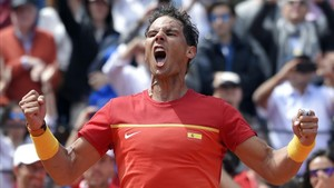 Rafa Nadal celebró con ganas el empate en la eliminatoria