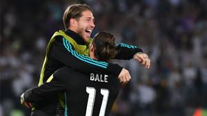 Sergio Ramos celebró junto a Bale el gol del galés ante el Al-Jazira