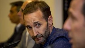 Sito Alonso durante la rueda de prensa en el Palau Blaugrana