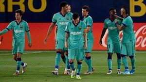Así celebró el FC Barcelona el 1-4, obra de Ansu Fati