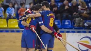 El Barça celebró hasta siete goles ante el Caldes